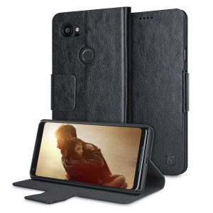 Protect your Google Pixel 2 XL with this durable and stylish black leather-style wallet case from Olixar, featuring two card slots. What's more, this case transforms into a handy stand to view media.