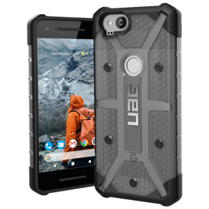 The Urban Armour Gear Plasma semi-transparent tough case in Ash grey and black for the Google Pixel 2 features a protective case with a brushed metal UAG logo insert for an amazing rugged and stylish design.