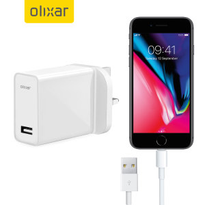 Ladda din iPhone 8 / 8 Plus eller någon annan USB-enhet snabbt och bekvämt med denna 2.4A högeffekts lightening kompatibla UK laddnings kit. I kittet ingår en UK väggadapter och lightening-kabel.