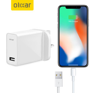 Ladda din iPhone X  eller någon annan USB-enhet snabbt och bekvämt med denna 2.4A högeffekts lightening kompatibla UK laddnings kit. I kittet ingår en UK väggadapter och lightening-kabel.
