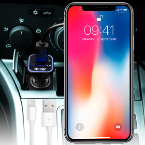 Keep your Apple iPhone X fully charged on the road with this high power 2.4A Car Charger, featuring extendable spiral cord design. As an added bonus, you can charge an additional USB device from the built-in USB port!