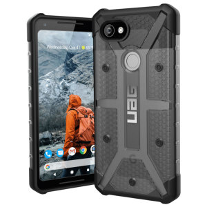 The Urban Armour Gear Plasma semi-transparent tough case in ash grey and black for the Google Pixel 2 XL features a protective case with a brushed metal UAG logo insert for an amazing rugged and stylish design.