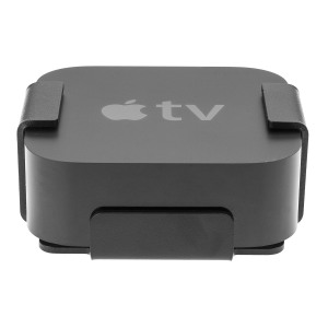 SecureTV4 is a discreet, high-security mount for Apple TV, constructed of 3mm hardened steel and powder coated in black to match the device.