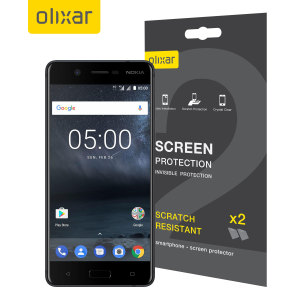 Keep your Nokia 5's screen in pristine condition with this Olixar scratch-resistant screen protector 2-in-1 pack.