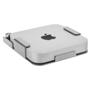 MiniLOCK is a discreet, high-security mount for Mini Macs, constructed of 3mm hardened steel and powder coated in silver to match the device.