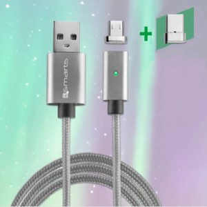 This braided and durable USB cable with a magnetic tip connector puts you in total control. The interchangeable tips (microUSB + USB+C included) can be replaced in no time, meaning you can transform, adapt and use the same cable for different devices.