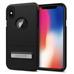 A sleek and slimline soft-touch black case for the iPhone X. Offering superb protection, minimal bulk and an integrated kickstand for viewing media.