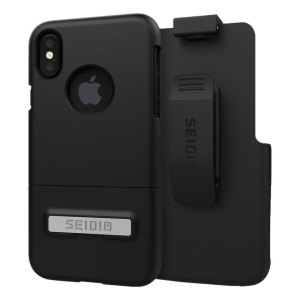A sleek and slimline soft-touch black case for the iPhone X that offers superb protection yet adds very little bulk to your phone. The Combo includes the SURFACE holster for the iPhone X, so you can clip your phone to your belt.