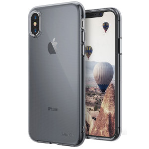Protect the back and sides of your iPhone X with this incredibly durable and smoke black backed Air Case by Ringke.