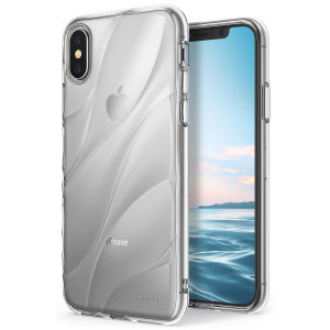 Protect the back and sides of your iPhone X with this incredibly durable and clear backed Flow case from Ringke. Featuring an abstract, artistic curve design to enhance the aesthetic of your device.