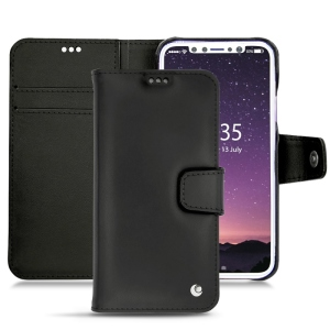 Keep your iPhone X well protected from damage with this high quality, beautifully hand-crafted genuine black leather wallet case from Noreve. The perfect blend of premium style and functionality.
