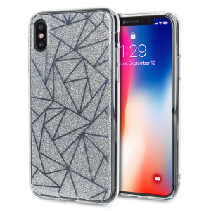 Shine on you crazy diamond with the Shine Bright Like a Diamond iPhone X case from LoveCases. A  silver slim polycarbonate case with gel bumper protects your phone while the glitter and geometric diamond design brings the bling.