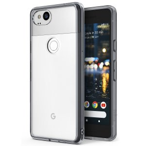 Protect the back and sides of your Google Pixel 2 with this incredibly durable and clear / smoke black backed Fusion Case by Ringke.