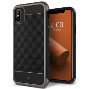 Protect your iPhone X with this stunning premium dual-layered shell case in black and warm grey. Made with tough dual-layered yet slim material, this hardshell body with a sleek metallic bumper features an attractive two-tone finish.