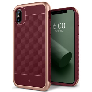 Protect your iPhone X with this stunning premium dual-layered shell case in burgundy. Made with tough dual-layered yet slim material, this hardshell body with a sleek metallic bumper features an attractive two-tone finish.