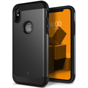 Protect your iPhone X with this stunning tough dual-layered armoured case in black. Made with robust dual-layered yet slim material, this TPU body with a sleek outer layer features an attractive two-tone finish.