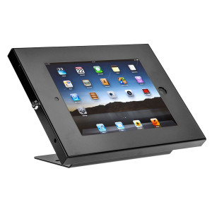 The SecureDock Uno is a high-security mount for iPads, constructed of 3mm hardened steel. The SecureDock Uno is perfect for mounting your iPad to your desk or worktop, allowing rotation and providing you with an 45 degree viewing angle.