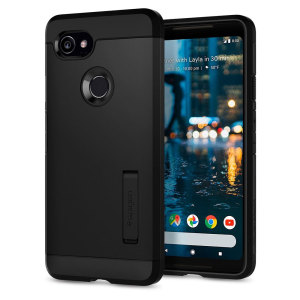 The Slim Armor case for the Google Pixel 2 XL in black has shock absorbing technology specifically incorporated to protect the device from impacts from any angle.