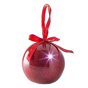 Send friends and loved ones a fabulous red LED glitter bauble with your own recorded message on it this Christmas. Not only is it far more impressive than a card, it can be used over and over again and make a perfect gift, keepsake and decoration.