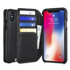 Treat your iPhone X to exquisite handmade craftsmanship and the highest quality materials. Featuring genuine tanned bridge leather and 4 card slots, the Vaja Wallet Agenda premium leather case in black is something special.