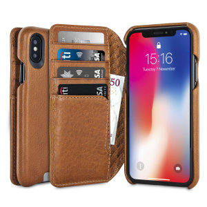 Treat your iPhone X to exquisite handmade craftsmanship and the highest quality materials. Featuring genuine tanned bridge leather and 4 card slots, the Vaja Wallet Agenda premium leather case in tan is something special.