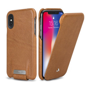 Treat your iPhone X to exquisite handmade craftsmanship and the highest quality materials. Featuring genuine Floater leather, the Vaja Top Flip premium leather case in tan is something truly special.