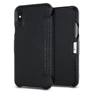 Treat your iPhone X to exquisite handmade craftsmanship and the highest quality materials. Featuring genuine Argentinian bridge leather, the Vaja Agenda MG premium leather flip case in black is something truly special.
