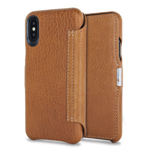 Treat your iPhone X to exquisite handmade craftsmanship and the highest quality materials. Featuring genuine Argentinian bridge leather, the Vaja Agenda MG premium leather flip case in tan is something truly special.