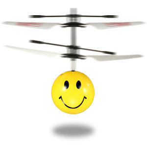 A smile goes a long way and sometimes that's upwards on its own. Especially when it's the Flying Emoji Mini Copter. With contra-rotating rotor blades and infrared sensors it will fly steadily on its own and respond to hand gestures to keep it airborne.