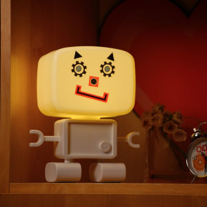 With hand-clap sound activation, over 60 stickers to make any zany face you can think of and a fully rechargeable battery, Roboglow is the perfect smart robot night light to delight children and adults alike.