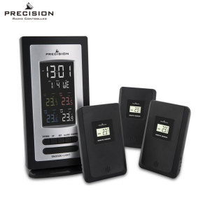 Monitor temperature in up to 3 separate locations with this ultra-precise, stylish and functional radio-controlled alarm clock from Precision. Coming complete with 3x radio temperature sensors for your bedroom, kitchen, study, office and more.