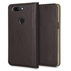 A premium slimline brown genuine leather case. The Olixar genuine leather executive wallet case offers perfect protection for your OnePlus 5T, as well as featuring a smart magnetic media stand and slots for your cards, cash and documents.