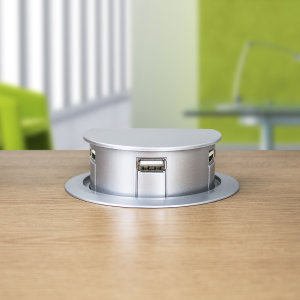 "An impressive motorised USB 2.0 hub that sits flush in a 3"" (75mm) desk grommet. The hub will pop up to allow sync and charger access to its 3 ports or sit back flush automatically with one touch of the sensor pad on top. An ingenious desk tidy solution."