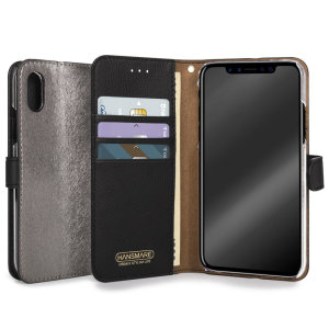 The Hansmare Calf Wallet Case in metal black for the iPhone X provides exceptional protection in a slim and sleek package. The interior of the case features a genuine leather pocket with slots for your cards and document.