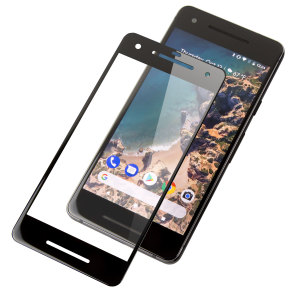 This ultra-thin full cover tempered glass screen protectors for the Google Pixel 2 with black front from Olixar offers toughness, high visibility and sensitivity all in one package.