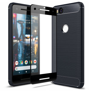 Flexible rugged casing with a premium matte finish non-slip carbon fibre and brushed metal design, the Olixar Sentinel case in black keeps your Google Pixel 2 protected from 360 degrees with the added bonus of a tempered glass screen protector.