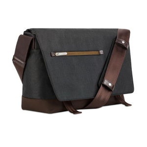 Crafted with ergonomics in mind, Moshi's Aerio messenger bag in charcoal black utilizes innovative materials and modern design to exude a stress-free attitude with a distinctive, stylish facade.