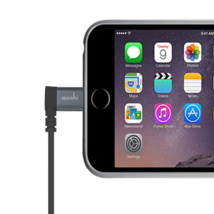 Make sure your Apple devices are always fully charged with this Moshi 1.5M Lightning to USB connector in black. This cable is fully MFi certified by Apple for use with their products, and comes with an angled lightning connector for convenient charging.