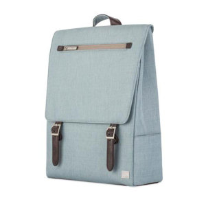 Crafted with ergonomics in mind, Moshi's Helios backpack in sky blue utilizes innovative materials and modern design to exude a stress-free attitude with a distinctive, stylish facade.
