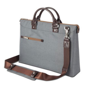 Crafted with ergonomics in mind, Moshi's Urbana briefcase bag in mineral grey utilizes innovative materials and modern design to exude a stress-free attitude with a distinctive, stylish facade.