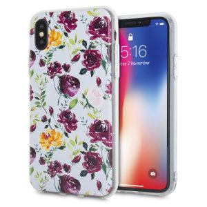 Coque iPhone X LoveCases Floral Art – Bleue / blanche