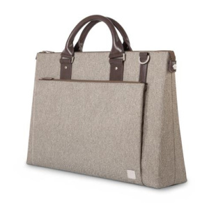 Crafted with ergonomics in mind, Moshi's Urbana briefcase bag in sandstone beige utilizes innovative materials and modern design to exude a stress-free attitude with a distinctive, stylish facade.