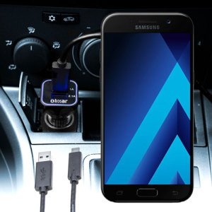 Keep your Samsung Galaxy A7 2017 fully charged on the road with this compatible Olixar high power dual USB 3.1A Car Charger with an included high quality USB to USB-C charging cable.