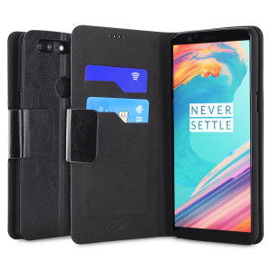 Protect your OnePlus 5T with this durable and stylish black leather-style wallet case by Olixar. What's more, this case transforms into a handy stand to view media.
