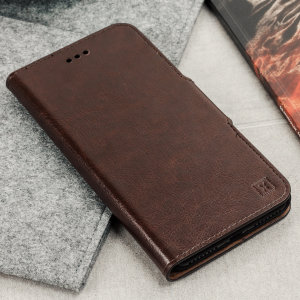 Protect your OnePlus 5T with this durable and stylish brown leather-style wallet case by Olixar. What's more, this case transforms into a handy stand to view media.
