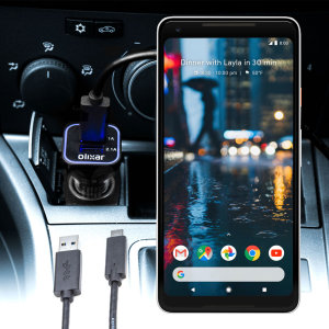 Keep your Google Pixel 2 XL fully charged on the road with this compatible Olixar high power dual USB 3.1A Car Charger with an included high quality USB to USB-C charging cable.