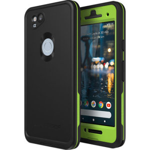 "Make your phone waterproof and experience the freedom to surf, sing in the shower, ski, snowboard, work on construction sites and anywhere else you go with the LifeProof Fre Google Pixel 2  case in ""night lite"" (black and green)."