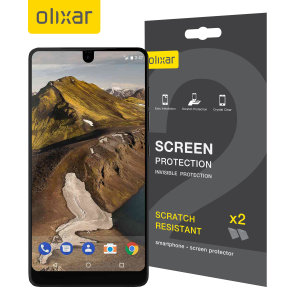 Keep your Essential Phone's screen in pristine condition with this Olixar scratch-resistant screen protector 2-in-1 pack.