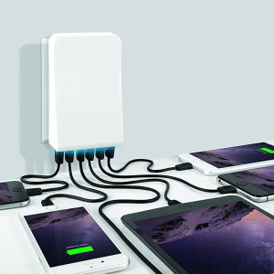 Keep all your devices fully charged in no time and keep your desk area tidy with the BlueFlame 6 Port USB Wall Charger. This hub mounts effortlessly to the wall, allowing you to save precious desk space and charge up to 6 smartphones, tablets and more.