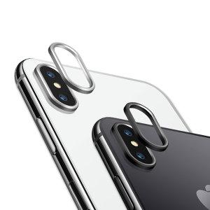 Protégez votre appareil photo iPhone X à l'aide d'une bague de protection métallique Olixar en coloris noir et argent. Les bagues incluses dans ce pack s'ajustent à la perfection et en toute simplicité pour offrir une protection optimale en cas de chute, l'objectif appareil photo de votre iPhone X est ainsi protégé.